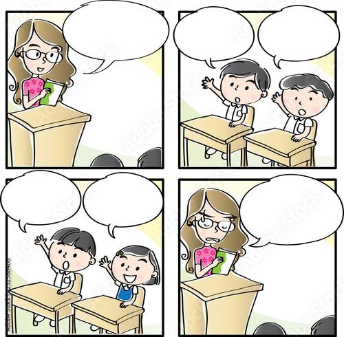Primary school four-frame comic - 232566406