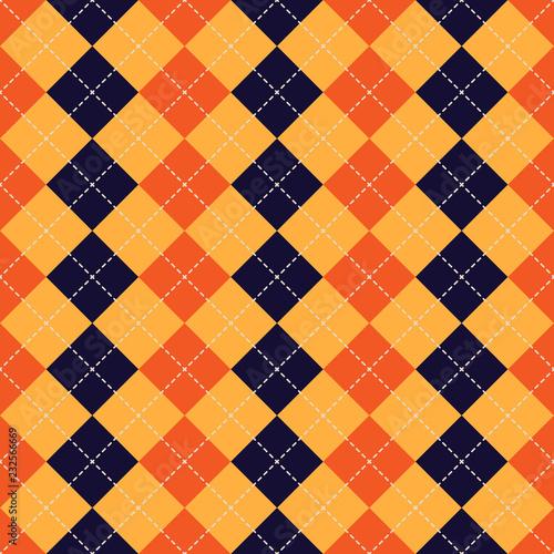 Seamless argyle plaid blue pattern. Diamond check © HandDraw
