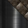 Grunge metal plates on scratched metallic texture
