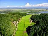 上空から見る田園風景と信濃川