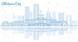 Outline Oklahoma City Skyline with Blue Buildings and Reflections.