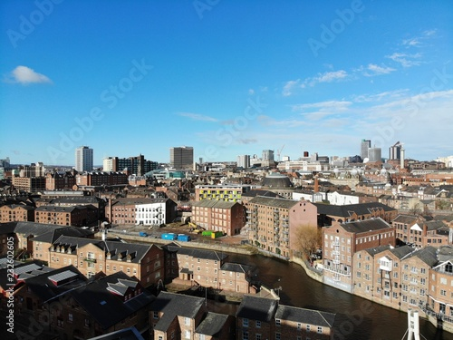 Poster Aerial photo overlooking Leeds City Center in West Yorkshire showing buildings and businesses