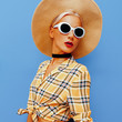 Lady Beach Country style. Fashion accessories hat and sunglasses