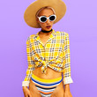 Girl beach country style. Fashion accessories hat and sunglasses. Checkered and stripe vibes