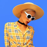 Lady beach country Western style. Fashion accessories hat and sunglasses. Checkered stylish shirt - 232617076
