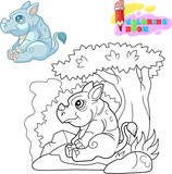 little cute rhino sitting under a tree coloring book