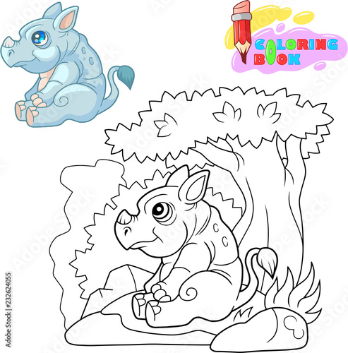 little cute rhino sitting under a tree coloring book - 232624055