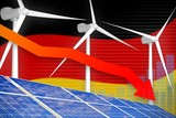Germany solar and wind energy lowering chart, arrow down - green natural energy industrial illustration. 3D Illustration - 232627005
