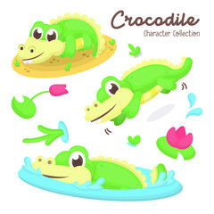 Illustration set of Cute Crocodile Character with Cartoon Style © Salma