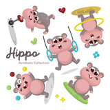 Illustration set of Cute Acrobatic Hippo Character with Cartoon Style