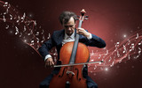 Lonely musical composer with cello and sparkling musical notes around - 232628042