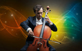 Serious classical cellist with fabled sparkling wallpaper - 232628060