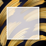 Abstract poster with square frame and golden brush strokes. - 232630660