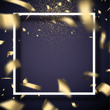 Christmas and New Year card with frame and golden shiny confetti. - 232631010