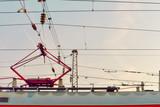 Electric train trolley pole railway electrification system.