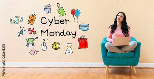 Cyber monday with young woman using a laptop computer