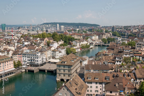 Leinwandbild Motiv Aerial view of historic Zurich city center with river Limma
