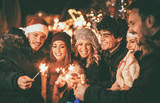 Friends With Sparklers At The New Year Party - 232654235