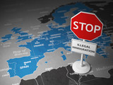 Stop illegal immigration concept. Sign stop on the map of Europe. - 232654270