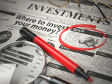 Gold is a best option to invest. Where to Invest concept, Investmets newspaper with loupe and marker. - 232654405