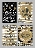 Collection of christmas greeting cards with hand lettering and hand drawn winter holiday and christmas elements and floral arrangement - 232655416