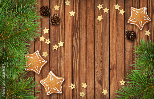 Christmas decorations and cookies on wood - 232656239