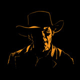 Man with cowboy hat silhouette in backlight. Illustration. - 232658404