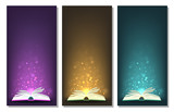 Magic books with different color magic lights on banners. - 232658458