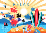 Bright summer color landscape with palm trees and beach - 232666669
