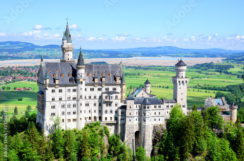 Famous tourist attraction in the Bavarian Alps - Neuschwanstein castle, Germany