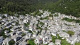 Panagia Village in the center of Thasos Island or Thassos, Greece aerial video footage shot using a drone in the summer - 232669081