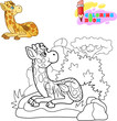 giraffe is resting, funny illustration, coloring book - 232672423