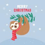 Cute sloth character Christmas card.