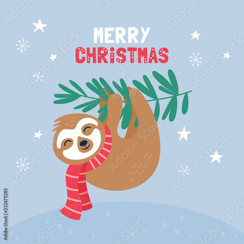 Cute sloth character Christmas card. - 232675283