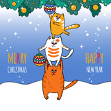 Merry Christmas card with three cats, the Christmas tree and Christmas balls - 232680656
