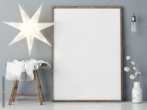 Mock up poster, Scandinavian design, Christmas decoration, 3d render 3d illustration