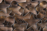 Closeup overhead view of a group of assorted cookie cutters - 232682862