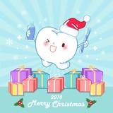 cartoon tooth and Christmas - 232694491