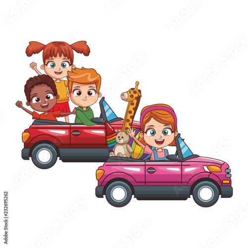 fototapeta na ścianę kids driving two cars