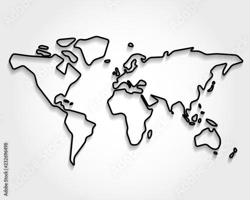 World, black outline map
