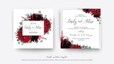 Wedding vector Floral invite, invitation save the date card  modern design: garden red rose flower, burgundy purple dahlia, eucalyptus greenery branches & berries decoration. Bohemian stylish template © Alewiena