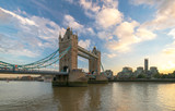View of Tower Bridge at dusk with blue sky, London