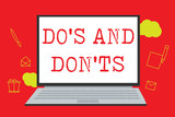 Text sign showing Do s is And Don t nots. Conceptual photo Technologically complication of making a decision. - 232706656