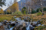 mountain stream with large stones, trees and mountains with yellowed autumn birch trees and grass - 232707682