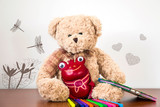 beige bear and red toad together learn to draw with markers - 232710607
