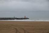 Dark clouds above the North Sea at the Beach of Scheveningen in the Netherlands