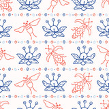 Flying Insect Bugs Seamless Vector Pattern. Scandi Folk Flowers with Bee and Beetle. Hand Drawn Scandi Nature Illustration for Pretty Fashion Prints, Garden Pollination Packaging, Animal Paper Goods. - 232730218