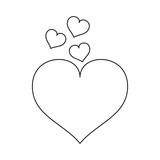 Cute hearts cartoons black and white - 232730296