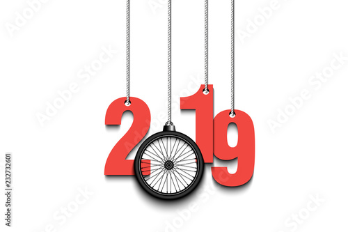 2019 New Year and bicycle wheel hanging on strings
