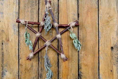 Branch Pentagram with dried herbs - Witchcraft tools of rustic